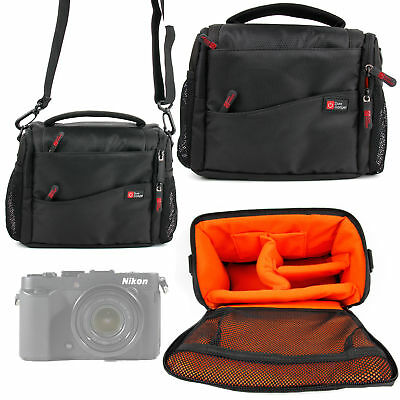 Carry Bag For Nikon CoolPix P7800, P7700, P7000, P900 - Black & Orange • 19.99£