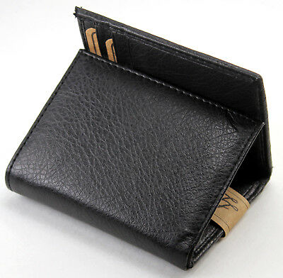$7.95 • Buy New Mens Trifold Genuine Leather Black Wallet Credit Card Case Window ID Holder