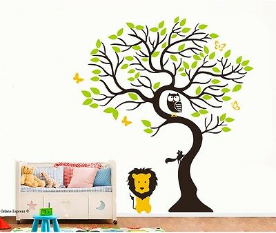 Tiger Monkey Lion Wall Sticker Owl Bird Tree Butterfly Nursery Art Bedroom Crib • 10.99£