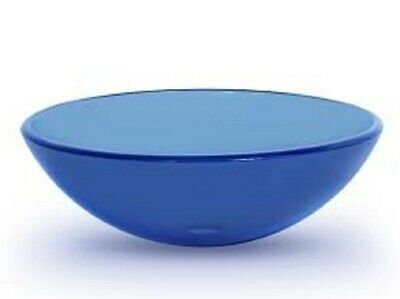 Bathroom Clear Blue Glass Basin Sink Cloakroom Counter Top Blue Round Uk • 54.99£