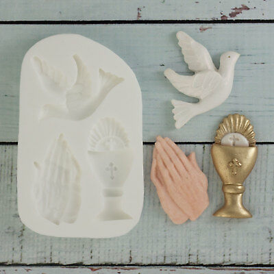 £9 • Buy Silicone Mould, Holy Communion, Confirmation, Chalice, Praying Hands, Dove M103