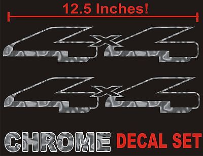 $9.89 • Buy 4x4 Truck Bed Decals, CHROME SILVER (Set) For Ford F-150 And Super Duty