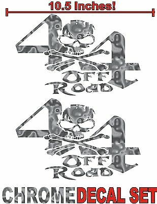 $8.89 • Buy 4x4 Truck Decal Set SILVER CHROME Skull Ford Chevy Dodge Toyota GMC