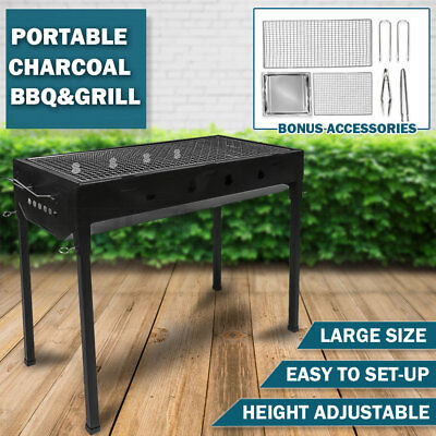 AU54.89 • Buy Large Portable Outdoor BBQ Barbecue Grill Set Charcoal Kebab Picnic Camping Sets