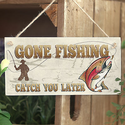 £6.99 • Buy Gone Fishing Catch You Later - Handmade Wooden Door Plaque Sign Gift For Man Dad