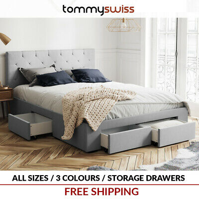 AU379 • Buy Fabric Storage Bed Frame With 4 Drawer Base In King Queen & Double Size - Grey +