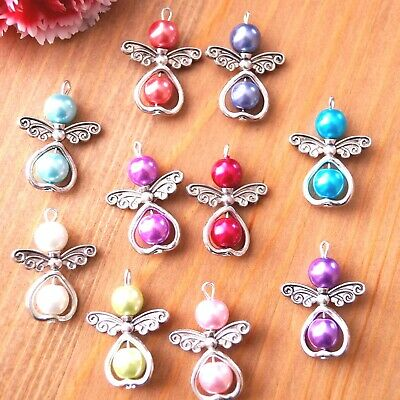 £4.99 • Buy 10-20 Mix Angel Charms Pendant Metal Heart Pearl Beads Xmas Tree Decoration