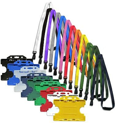 Double Sided ID Card Badge Holder & ID Soft Neck Lanyard Strap  J-Clip Free P&P • 2.09£