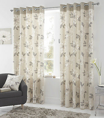 Bargain Priced Eyelet Curtains Annabelle Natural Ring Top Heading • 22.99£