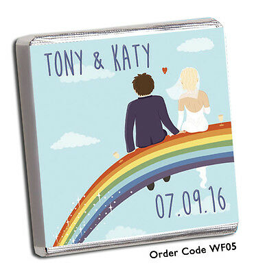 £8.99 • Buy 50 PERSONALISED CHOCOLATE WEDDING FAVOURS, 100's OF DESIGNS FOR 2019 + FREE P+P