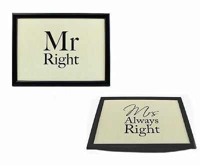 Mr Right & Mrs Always Right Bean Bag Base Padded Bed Serving Lap Tray Xmas Gift • 9.95£