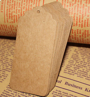 100pcs Brown Kraft Paper Gift Tags Wedding Scallop Label Blank Luggage + Strings • 2.59£