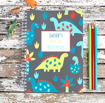 Dinosaurs Personalised Notebook Children's Girl's Boy's Gift Idea Various Sizes  • 8£