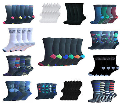6 Or 12 Pairs Socks Men's Luxury Cotton Designer Socks With Smooth Toe Size 6-11 • 5.48£
