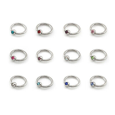 BCR With CRYSTAL GEMS Ball Closure Captive Ring, Lip Nose Ear Tragus Septum Ring • 1.59£
