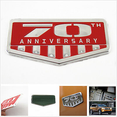 $10.53 • Buy Car Side Body Fenders Red 3D 70th Anniversary Commemorative Emblem Sticker Badge
