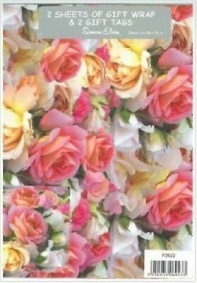 £2.49 • Buy 2 Sheets Wrapping Paper & Tags FLORAL ROSES Happy Birthday Ladies Mum Female