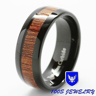 $34.99 • Buy 8mm Mens Tungsten Ring Black With Wood Inlay Comfort Fit Wedding Band Size 6-16