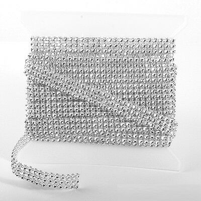 SILVER DIAMOND DIAMANTE EFFECT RIBBON TRIM CAKE BRIDAL CRAFT 1 To 24 Row 1 To 5m • 2.65£