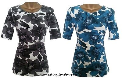£4.97 • Buy Next Summer Floral Pleat Tunic Top Blouse T-shirt Petrol & Black  8-18 Clearance