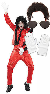 Michael Jackson Thriller Fancy Dress 80s Costume With AFRO  SUNGLASSES GLOVES • 30.10£