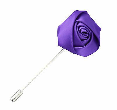 Lapel Flower Purple Boutonniere Stick Brooch Pin Men's Shirt Suit Tie Womens  • 4.64£