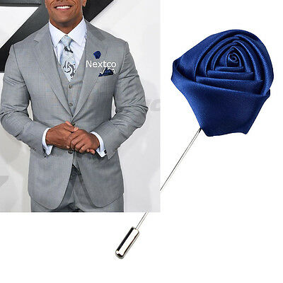 Lapel Flower Blue Boutonniere Stick Brooch Pin Men's Shirt Suit Tie Womens  • 4.64£