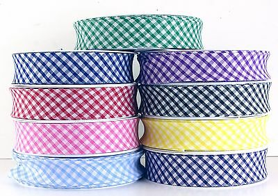 £3.99 • Buy 25mm GINGHAM POLYCOTTON BIAS BINDING-BUNTING- EDGING- QUILTING-SCHOOL COLOURS