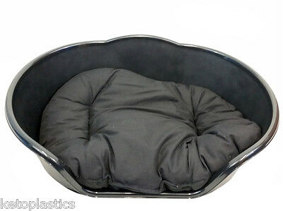 Extra Large XL Plastic BLACK Dog Pet Bed With BLACK Cushion, Basket  • 25.95£