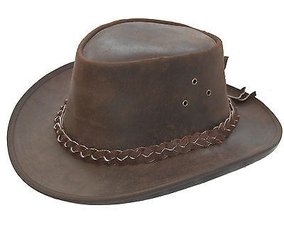 Leather Cowboy Western Aussie Style Bush Hat Brown Pulup Distressed  • 17.75£