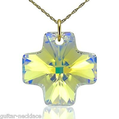 £29.95 • Buy Genuine 9ct Gold Cross Necklace Crystal Jewellery Made With Swarovski Elements