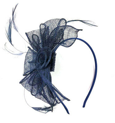 Navy Blue Feather Headband Aliceband Fascinator Ladies Day Weddings Races 28 • 8.99£