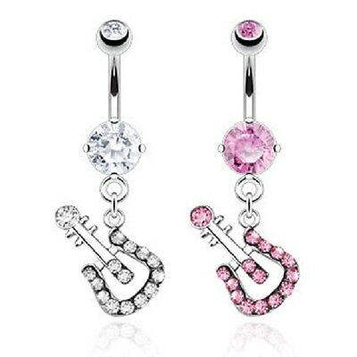 New Novelty Surgical Steel Dangle Drop Music Guitar Gem Belly Bar Pink Clear  • 3.35£