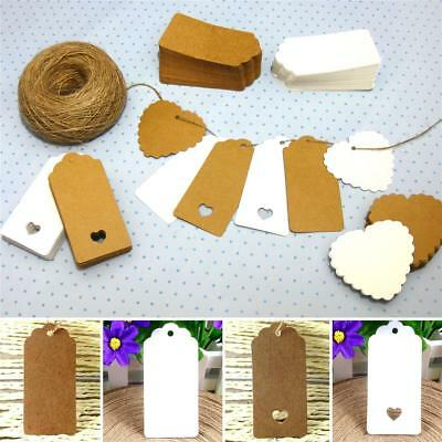 10/25/50/100 Kraft Paper Gift Tags Scallop Label Wedding Blank + Strings *UK* • 3.95£