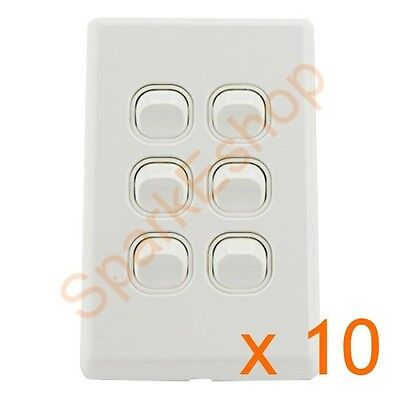 AU24 • Buy Light Switch (6 Gang) Per Box Of 10 - Aust. Approved. Free Postage