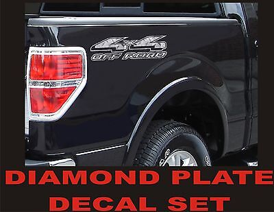 $11.99 • Buy 4x4 OFFROAD Truck Decal Set DIAMOND PLATE CHROME For Ford F150 & Super Duty