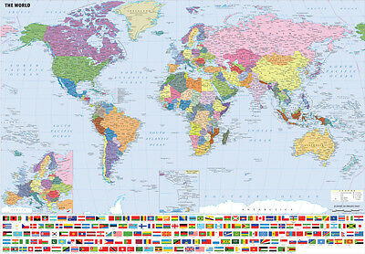 Giant Large A2 A0 A1 World Map Wall Chart Including Flags Laminated Option Map01 • 13.75£