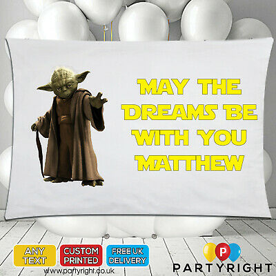 Personalised Star Wars Yoda Kids Pillowcase Pillow Case • Any Name • Great Gift • 8.99£