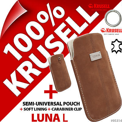 £4.97 • Buy New Krusell Luna L Large GENUINE SUEDE LEATHER Mobile Pouch Case Cover Slim+Clip