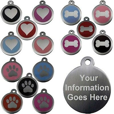 Pet Identity Tags Stainless Steel Round Tab 25mm & 32mm Engraved Dog Cat Discs • 3.29£
