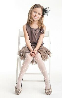 £4.25 • Buy Girls White Sheer Pattern Tights Holy Communion Party 3-11 Years Knittex Sweety
