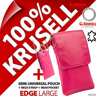 £4.97 • Buy Krusell Edge GENUINE LEATHER Mobile Phone Pouch Slim Case Cover + Clip + Lanyard