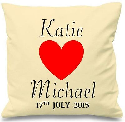 Luxury Personalised Cushion Cover Gift Named Love Heart Wedding Family Birthday  • 8.99£