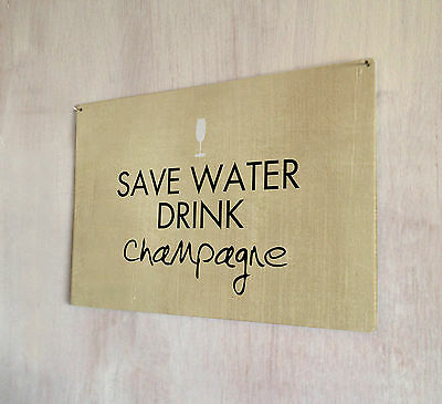 £14.99 • Buy Save Water Drink Champagne Vintage Print Sign A4 Metal Plaque