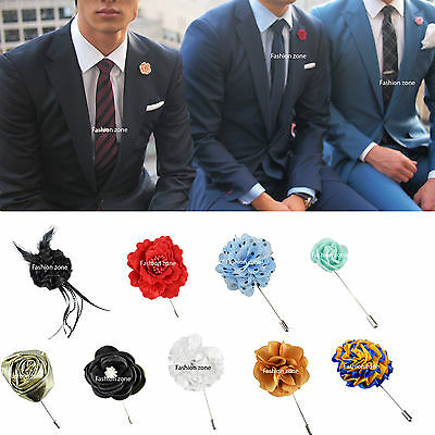 NEW Mens Corsage Boutonniere Lapel Pin Flower Wedding Black Red Green White Blue • 5.57£