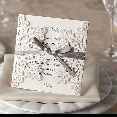 1 Ribbons And Lace Laser Cut Embossed Wedding Invitations Inc Envelope & Insert • 3.41£