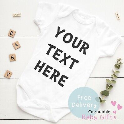 £5.95 • Buy Your Text Here Personalised Baby Vest Grow Clothes Bodysuit Custom Girl Boy Gift