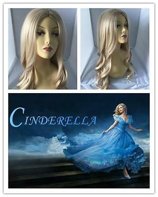 G1 Princess Cinderella Disney Light Blonde Long Curly Adults Wigs  60cm • 12.45£