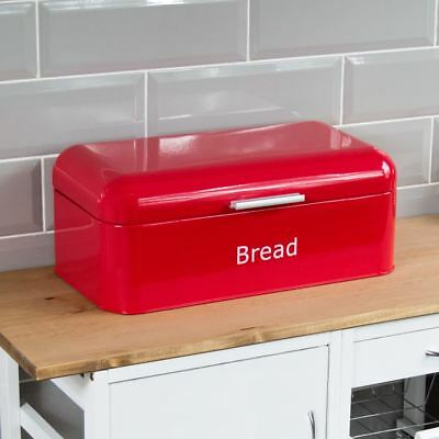 $22 • Buy Curved Bread Bin Red Steel Kitchen Top Storage Loaf Box Tin New By Home Discount