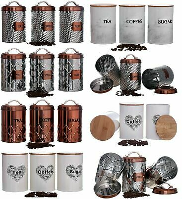 Tea Coffee Sugar Kitchen Storage Canister Jars Pots Containers Set Air Tight Lid • 11.95£